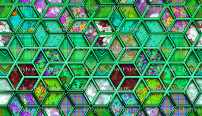 METALLIC MIX DOUBLE HEXIES 3D MINT GREEN
