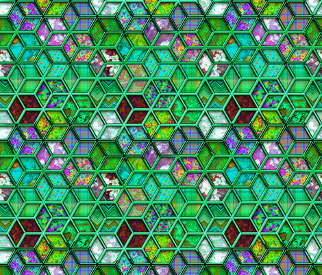 METALLIC MIX DOUBLE HEXIES 3D MINT GREEN fabric by paysmage on Spoonflower - custom fabric