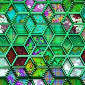 METALLIC MIX DOUBLE HEXIES 3D MINT GREEN