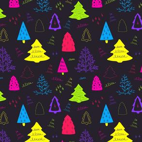 Christmas trees neon colors