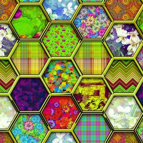 METALLIC MIX HEXIES 3D CHARTREUSE LIME GREEN
