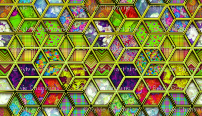 METALLIC MIX DOUBLE HEXIES 3D CHARTREUSE LIME GREEN