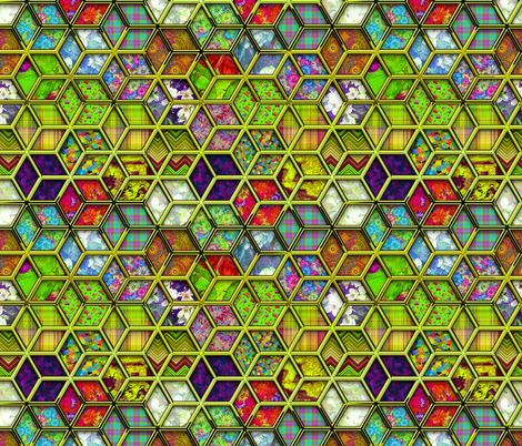 METALLIC MIX DOUBLE HEXIES 3D CHARTREUSE LIME GREEN fabric by paysmage on Spoonflower - custom fabric