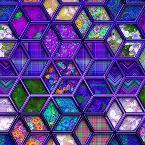 METALLIC MIX DOUBLE HEXIES 3D PURPLE