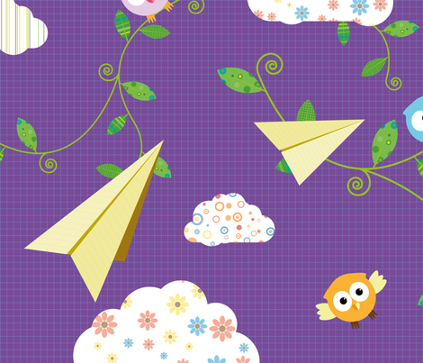 We flew past trees, like birds through clouds fabric by indrajeet on Spoonflower - custom fabric