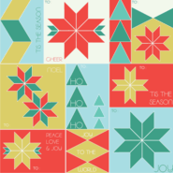 Geometric Christmas Tags // poinsettia triangles trees