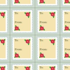 Vintage Stamp Poinsettia Tags