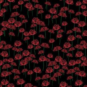 pen poppies on black