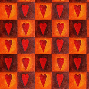 Four textured hearts