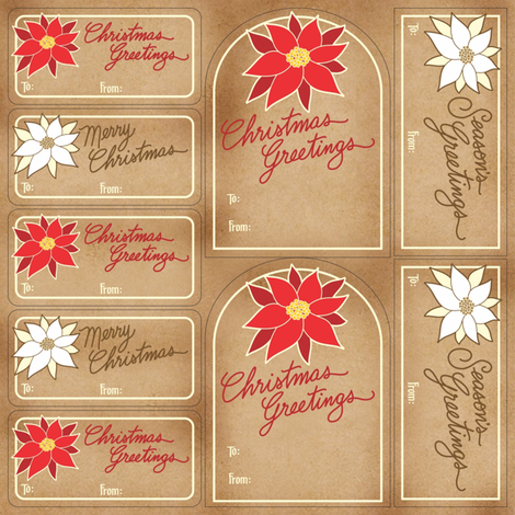 Poinsettia Gift Tags fabric by jewelraider on Spoonflower - custom fabric