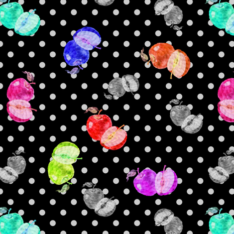 HAPPY APPLES SMALL BLACK DOTTY RETRO VINTAGE fabric by paysmage on Spoonflower - custom fabric