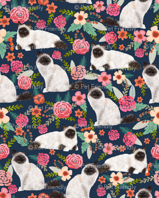 birman cat floral fabric cute seal point birman cat design cute florals cat fabric cat lady designs cute cats