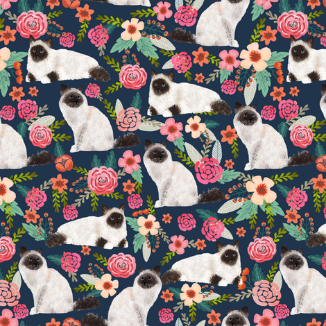 birman cat floral fabric cute seal point birman cat design cute florals cat fabric cat lady designs cute cats fabric by petfriendly on Spoonflower - custom fabric