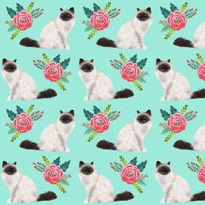 birman cat floral sweet seal point birman cat fabric cute cat designs best cat fabric for cat owners cat ladies kitty cats