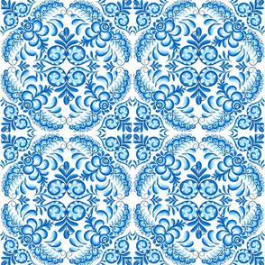 Blue floral squares