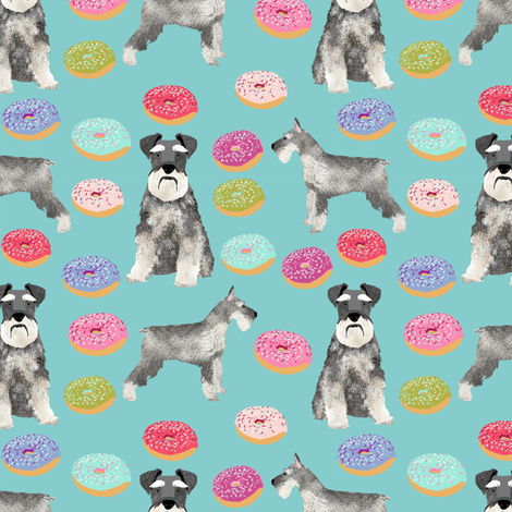 schnauzers donuts fabric cute donuts fabric schnauzers dog fabric cute dog fabric by petfriendly on Spoonflower - custom fabric