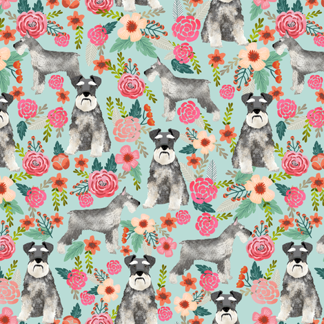 schnauzer floral dog fabric cute vintage florals fabrics cute floral design schnauzers neutral dog fabric fabric by petfriendly on Spoonflower - custom fabric