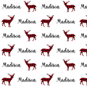 personalized name fabric cute buffalo plaid deer name text font fabric custom baby name fabric cute customizable kids room decor