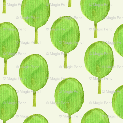 Watercolour green trees