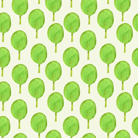 Watercolour green trees fabric by magic_pencil on Spoonflower - custom fabric