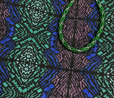 Kristen in Emerald, Blue and Purple, with Grid Lines