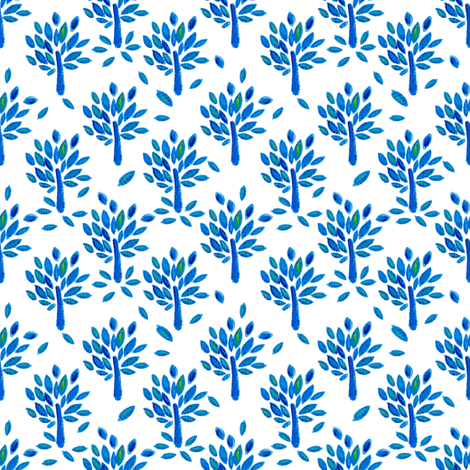 Trees in blue fabric by magic_pencil on Spoonflower - custom fabric