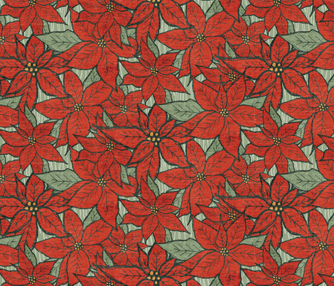 Wild Poinsettias fabric by jacquelinehurd on Spoonflower - custom fabric