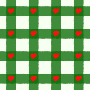 traditional vichy pattern with small hearts