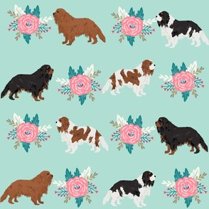 cavalier king charles spaniel dogs cute dog fabric florals dog fabrics cute floral dogs