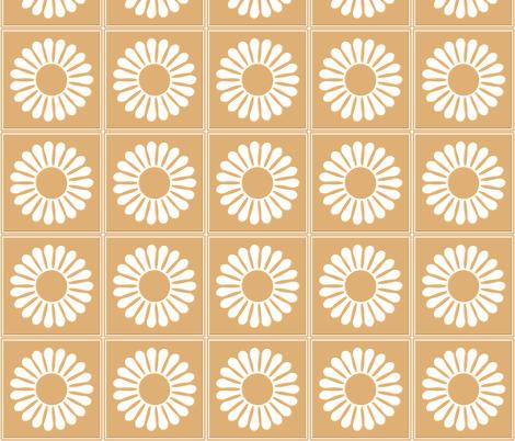 White Flower Beige Background  fabric by lanrete58 on Spoonflower - custom fabric