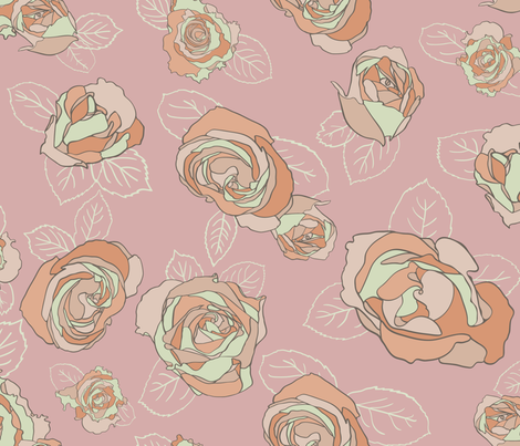 Roses Seamless Repeating Pattern fabric by paula_ohreen_designs on Spoonflower - custom fabric