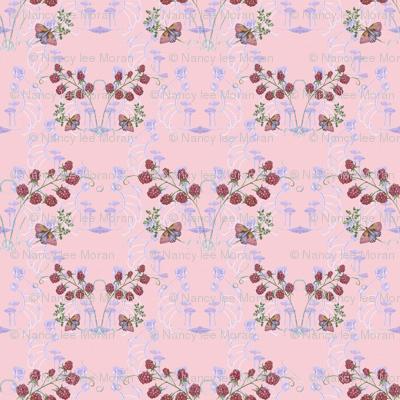 Butterflies, Mushrooms and Raspberries on Pastel Pink