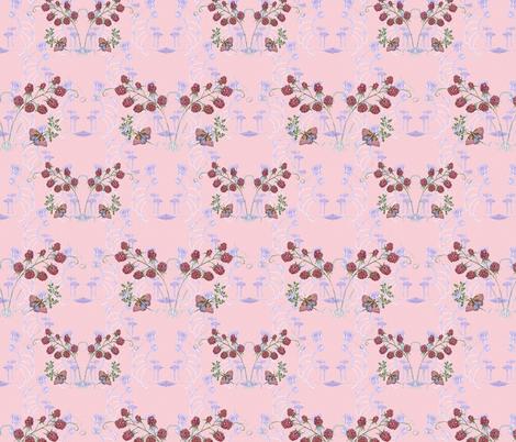 Butterflies, Mushrooms and Raspberries on Pastel Pink fabric by nancy_lee_moran_designs on Spoonflower - custom fabric