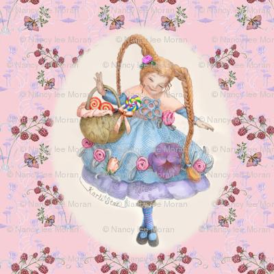 Butterflies, Raspberries and Karli Star on Pastel Pink