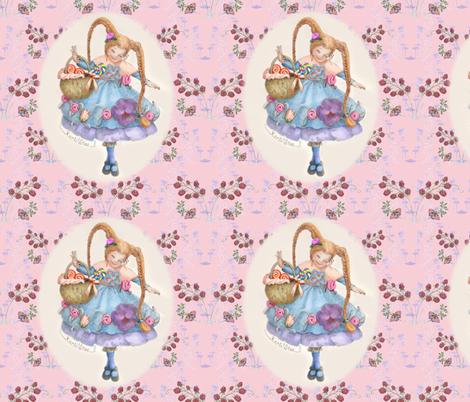 Butterflies, Raspberries and Karli Star on Pastel Pink fabric by nancy_lee_moran_designs on Spoonflower - custom fabric