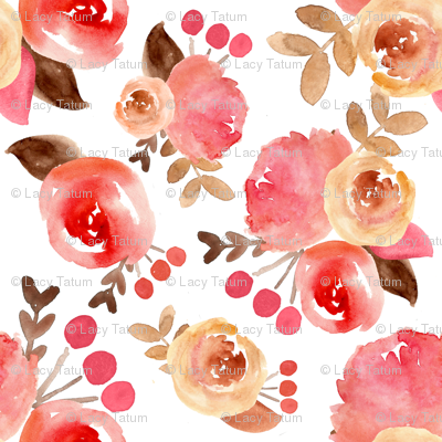 bright pink watercolor bouquet
