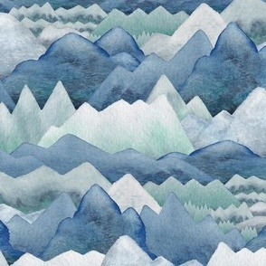 Watercolor Mountains Blue