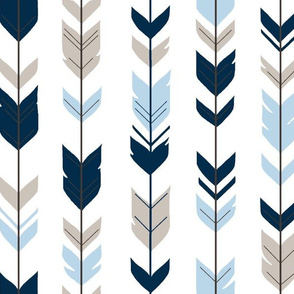 Arrow Feathers -- Baby Blue/Beige/navy on white - CottonWood-ch