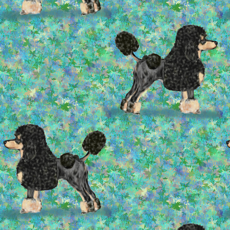 Black and Tan Phantom Poodle on Blue Green fabric by eclectic_house on Spoonflower - custom fabric