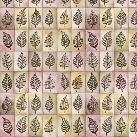 leaf_tile_pattern_1 fabric by zeesidesigngarden on Spoonflower - custom fabric