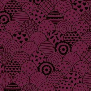 Abstract inky texture winter ocean waves and scallops maroon