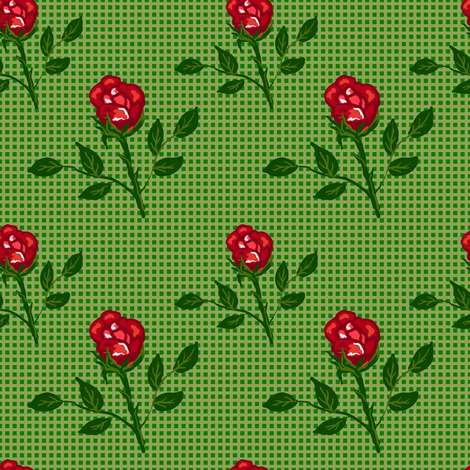 Roses on vichy  fabric by magic_pencil on Spoonflower - custom fabric