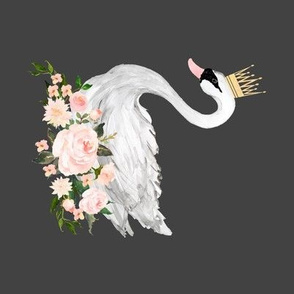 Swan with Roses in Grey - 90 degrees
