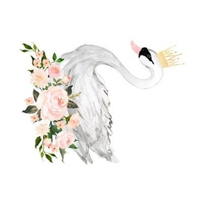 Swan with Roses in White - 90 degrees