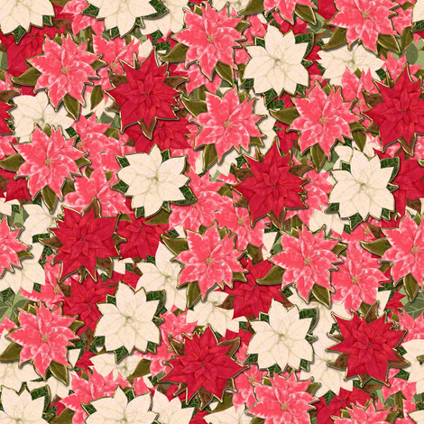 Pink Red and White Poinsettia scatter with hint of fake gold fabric by eclectic_house on Spoonflower - custom fabric