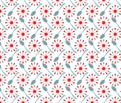 Spoons and Starburst Mid Century on White fabric by anderson_designs on Spoonflower - custom fabric