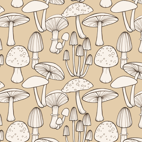 Mushrooms  - taupe fabric by hazel_fisher_creations on Spoonflower - custom fabric