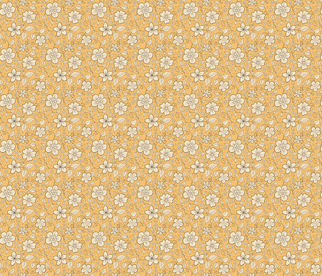 Orange Floral fabric by hazel_fisher_creations on Spoonflower - custom fabric
