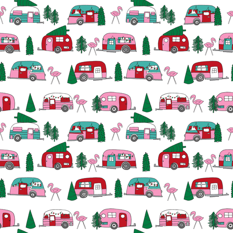christmas campers // pink and green xmas holiday christmas fabric cute holiday christmas designs fabric by andrea_lauren on Spoonflower - custom fabric