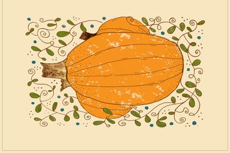 Pumpkin Tea Towel fabric by accidental_rabbit on Spoonflower - custom fabric